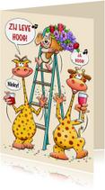 Verjaardagskaarten - Leuke verjaardagskaart Zij Leve Hoog met trapleer