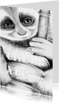 Dierenkaarten - Lief aapje klemt zich vast
