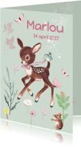 Geboortekaartjes - Lief geboortekaartje HERTJE Mint