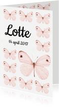 Geboortekaartjes - Lief geboortekaartje  met roze vlinders - SWEET BUTTERFLY