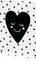 Liefde kaarten - Liefde kaart Hart zwartwit - WW