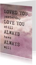 Liefde kaarten - Liefdeskaart gedicht roze wolken