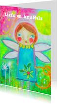 Vriendschap kaarten - Liefs en knuffels engeltje