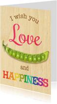 Zomaar kaarten - love peas  happiness houtmotief