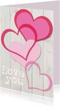 Liefde kaarten - Love you hartjes hout-ByF