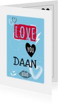 Liefde kaarten - Love you met naam aanpasbaar