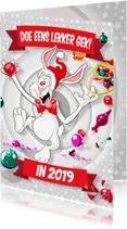 Kerstkaarten - Maffe Paashaas Smijt Kerstballen