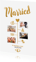 Trouwkaarten - Married goud - BK