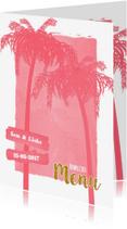 Menukaarten - Menu beach palm roze