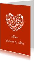 Menukaarten - Menu huwelijk iconenhart koper