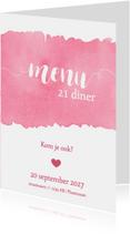 Uitnodigingen - Menukaart 21 diner waterverf roze - DH