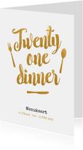 Menukaart 21 dinner met gouden tekst en bestek
