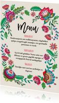 Menukaarten - Menukaart Bohemian Bloemen enkel