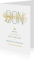 Menukaarten - Menukaart 'Bon appetit' met goudlook en waterverf