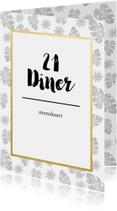 Menukaart voor een 21 diner met botanische print