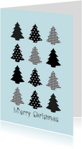 Kerstkaarten - Merry Christmas kerstbomen