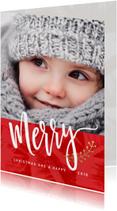 Kerstkaarten - Moderne kerstkaart foto groot Merry
