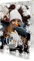Kerstkaarten - Moderne kerstkaart foto kader dennentakken