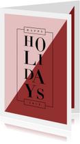 Moderne kerstkaart met gekleurde vlakken en klassieke tekst