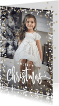 Kerstkaarten - Moderne kerstkaart sterretjes sneeuw foto kader