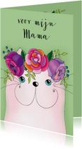 Moederdag kaarten - Moederdag kaart Kat met bloementooi - SK
