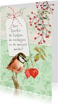 Moederdag, roze vogel en hartjes