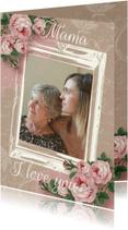 Moederdag kaarten - Moederdagkaart kraftprint rozen