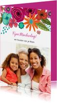 Moederdag kaarten - Moederdagkaart met foto en bloemen rand
