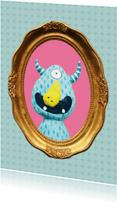 Zomaar kaarten - Monster in gouden lijstje