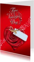 Valentijnskaarten - Mooie Valentijnskaart met roos in de vorm van een hart
