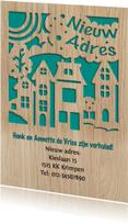 Verhuiskaarten - Mooie verhuiskaart met de suggestie van gestanste huisjes