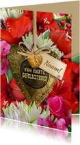 Verjaardagskaarten - Mooie verjaardagskaart met Amaryllis en koper hart