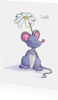 Vriendschap kaarten - Muisje met bloem