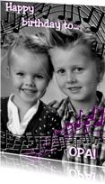 Verjaardagskaarten - Muzieknoten fotokaart