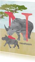 Kinderkaarten - N van neushoorn