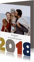 Kerstkaarten - Nieuwjaar 2018 gekleurde cijfers