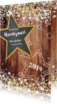 Nieuwjaarskaarten - Nieuwjaar stoer en romantisch hout en sterren