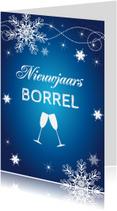 Uitnodigingen - Nieuwjaarsborrel blauw design - LB