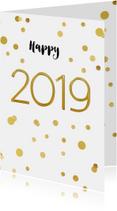 Nieuwjaarskaarten - Nieuwjaarskaart 2019 confetti goud