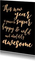Nieuwjaarskaarten - Nieuwjaarskaart Awesome - SK