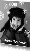 Nieuwjaarskaarten - Nieuwjaarskaart foto sneeuw vlok