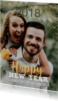 Nieuwjaarskaarten - Nieuwjaarskaart glitters goudkleur