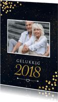Nieuwjaarskaarten - Nieuwjaarskaart gouden sterrenhemel