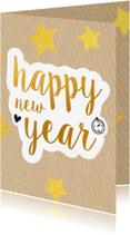 Nieuwjaarskaarten - Nieuwjaarskaart happy new year gold