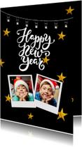 Nieuwjaarskaarten - Nieuwjaarskaart Happy new year with stars