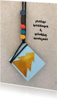 Nieuwjaarskaarten - nieuwjaarskaart label boom goud