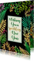 Nieuwjaarskaarten - Nieuwjaarskaart met bladeren op zwart