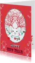 Kerstkaarten - Nieuwjaarskaart rood met hert