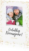 Nieuwjaarskaarten - Nieuwjaarskaart staand gouden confetti - BK