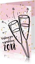 Nieuwjaarskaarten - Nieuwjaarskaart zakelijk aquarel, confetti en champagne